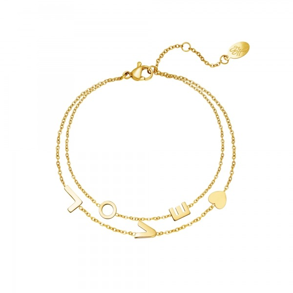 Armband Love- Stainless steel - Goud.