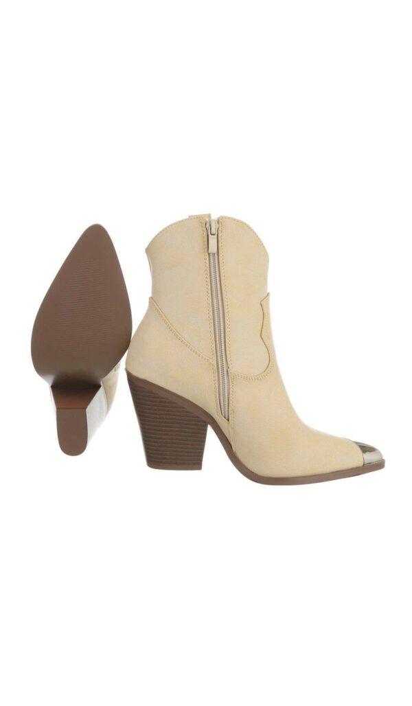 Dames enkel laarzen met hak Beige kleur