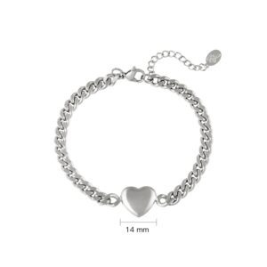 Armband Chained Heart - Stainless steel - Zilver kleur.