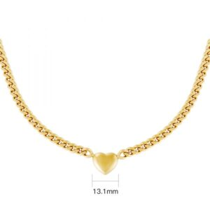 Ketting Chained Heart Stainless steel – Goud kleur.