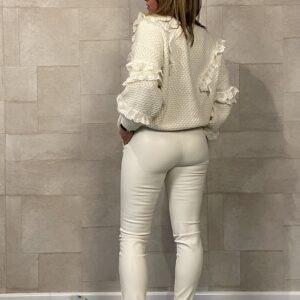 Elvira Leather Look Legging Light Taupe.