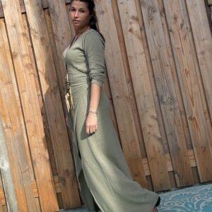 Maxi Gebreide wikkel jurk met lange mouwen – Leger groen kleur– one size.