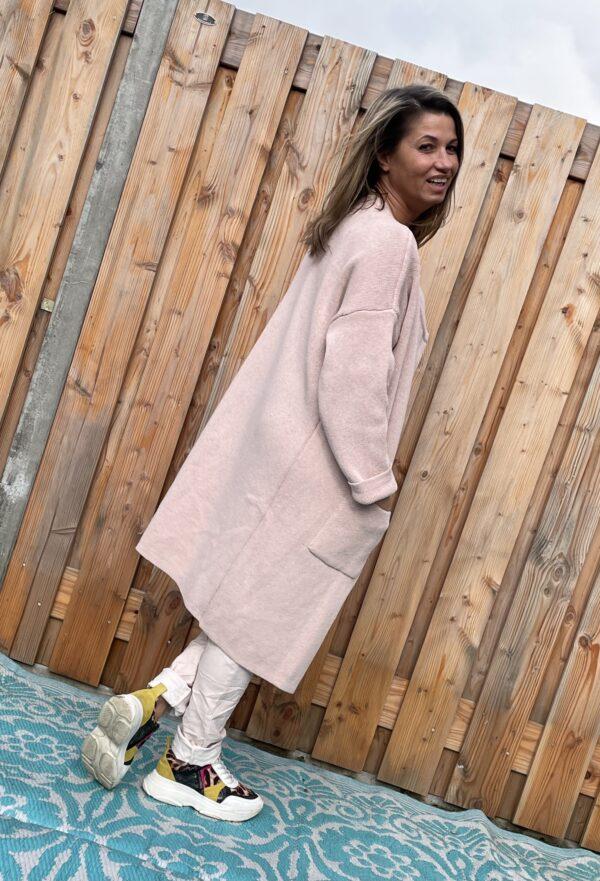 Adriana gebreid katoen vest - Zacht rosé kleur – ONE SIZE.