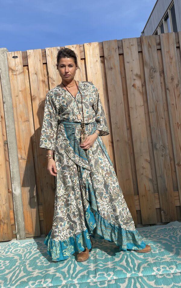Boho Maxi Wikkel Dress - one size - Bruin -Blauw kleur.