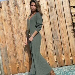 Alexandra Maxi gebreid jurk -Leger groen kleur - one size.