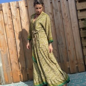 Boho Maxi Wikkel Dress - one size -Groen kleur.