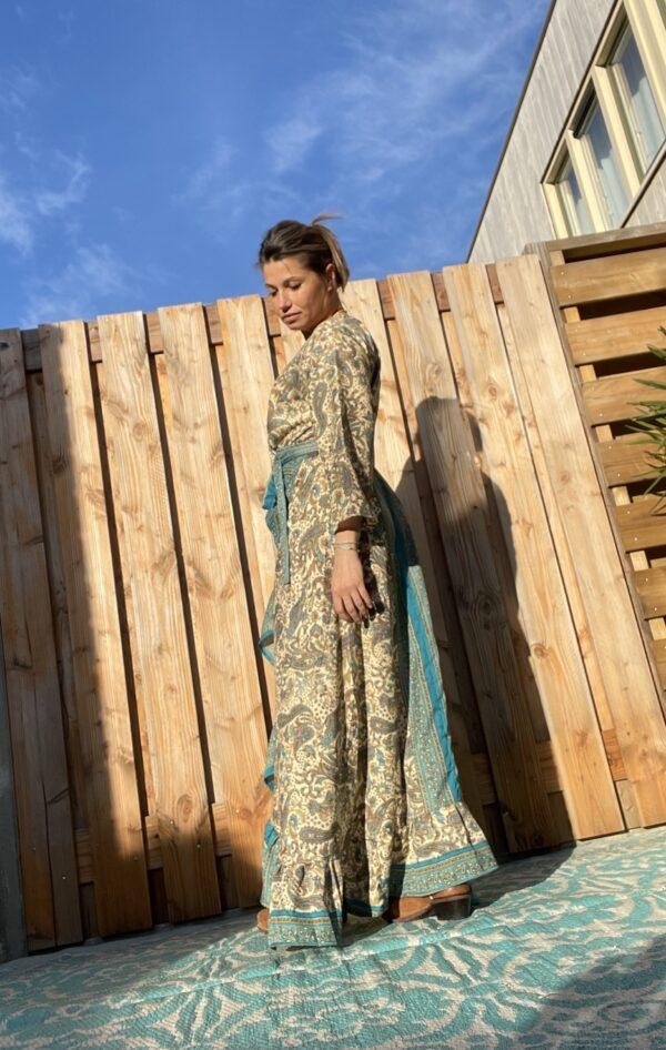 Boho Maxi Wikkel Dress – one size – Blauw/Bruin kleur.
