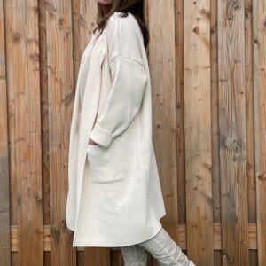 Adriana gebreid katoen vest - Crème kleur – ONE SIZE.