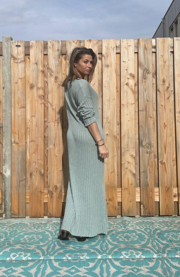 Alexandra Maxi gebreid jurk- Petrol kleur - one size.