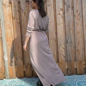 Maxi Gebreide wikkel jurk met lange mouwen – Lila kleur– one size.