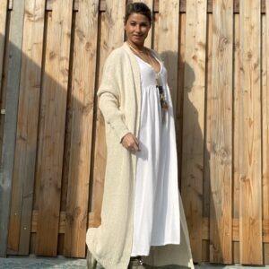 Gebreide Maxi vest met lange mouwen -Off White – one size