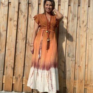 Barcelona Maxi wikkel jurk- PEACH kleur.