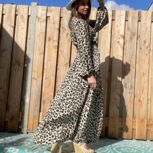Zoe Maxi panter print jurk.