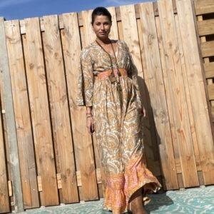 Antoniya Maxi zijde jurk - one size.