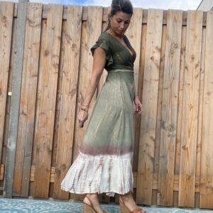 Barcelona Maxi wikkel jurk- Khaki kleur.