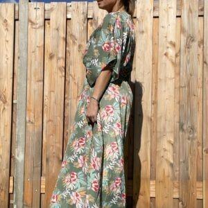 Jade Maxi Bloemen Jurk - Mint kleur.