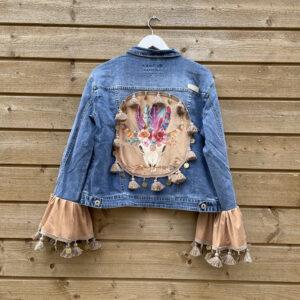 Bohemien jacket Buffalo hoofd-handmade- maat 46.