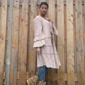 Fleur wijde tuniek-jurk -Poeder rosé kleur- one size.