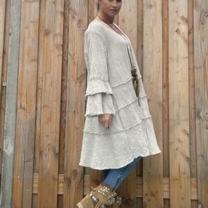 Fleur wijde tuniek-jurk -Beige kleur- one size.