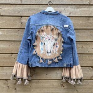 Bohemien jacket Buffalo hoofd-handmade- maat 44.