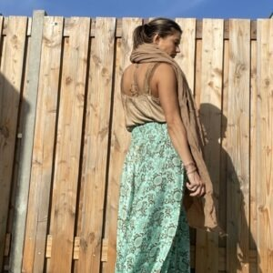 Sjaal Groot Bruin- hand made By Vagabundo Es Vedra.