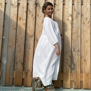 Esmee Maxi Jurk -One size - Witte kleur.
