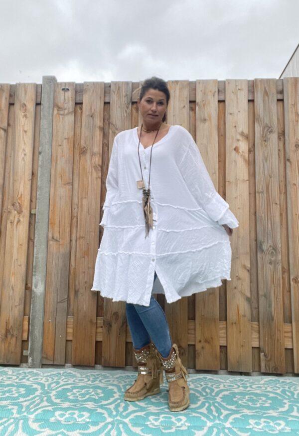 Fleur wijde tuniek-jurk -witte kleur- one size.