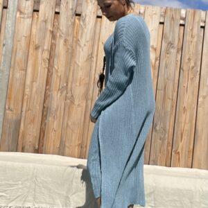Estela katoen Gebreid vest- een maat - Blauw kleur.