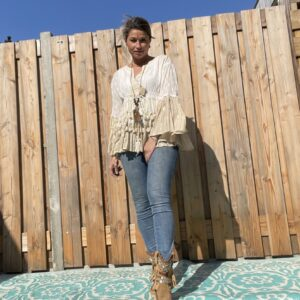 Ibiza style kanten tuniek ecru / wit.