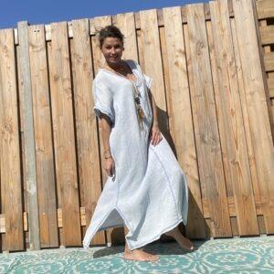 Daniela katoenen jurk-one size - spijker blauw kleur.