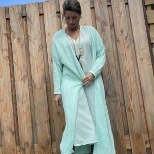 Gebreide katoenen Maxi vest Mint blauw kleur – one size.