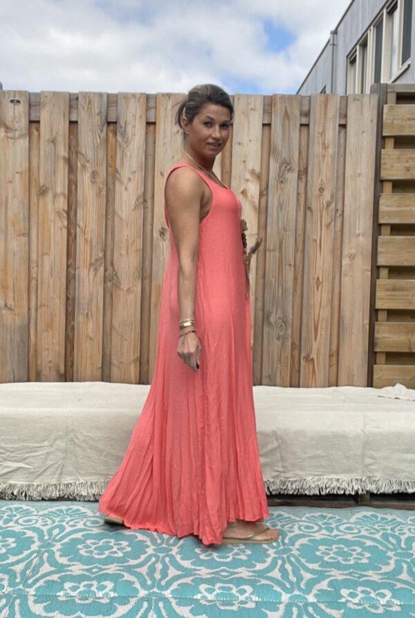 Maxi lange jurk – Coral kleur- one size .