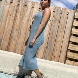 Estela katoen Gebreid Jurk -een maat -Blauw kleur.