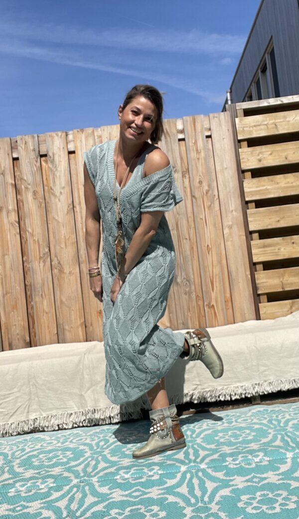 Soria katoen gebreid jurk - een maat-Petrol blauw kleur.