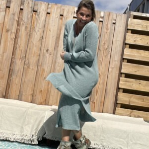 Estela katoen Gebreid vest- een maat - petrol blauw kleur.