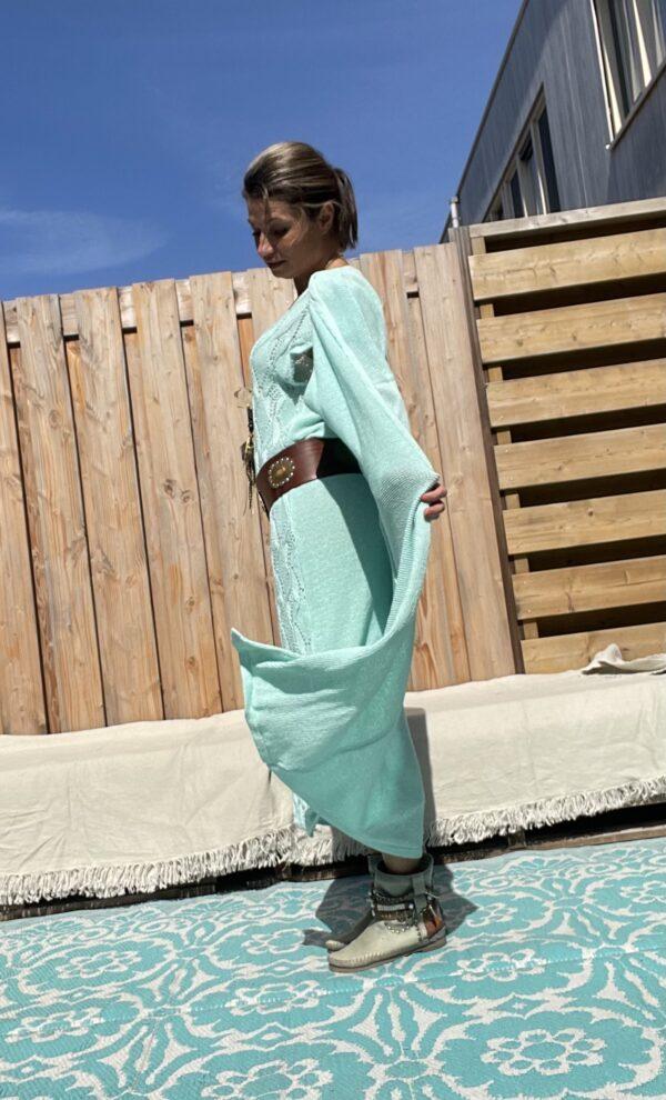 Soria katoen gebreid jurk - een maat- Mint blauw kleur.