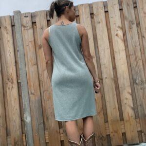 Onderjurk , basic lange top.- one size- petrol kleur.