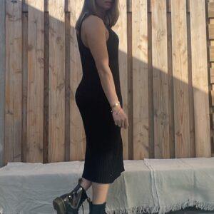 Estela katoen Gebreid Jurk -een maat -Zwart kleur.