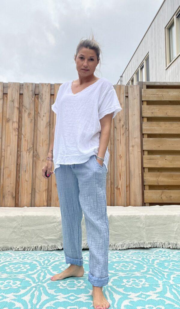 Zoë katoenen broek - spijker blauw kleur.
