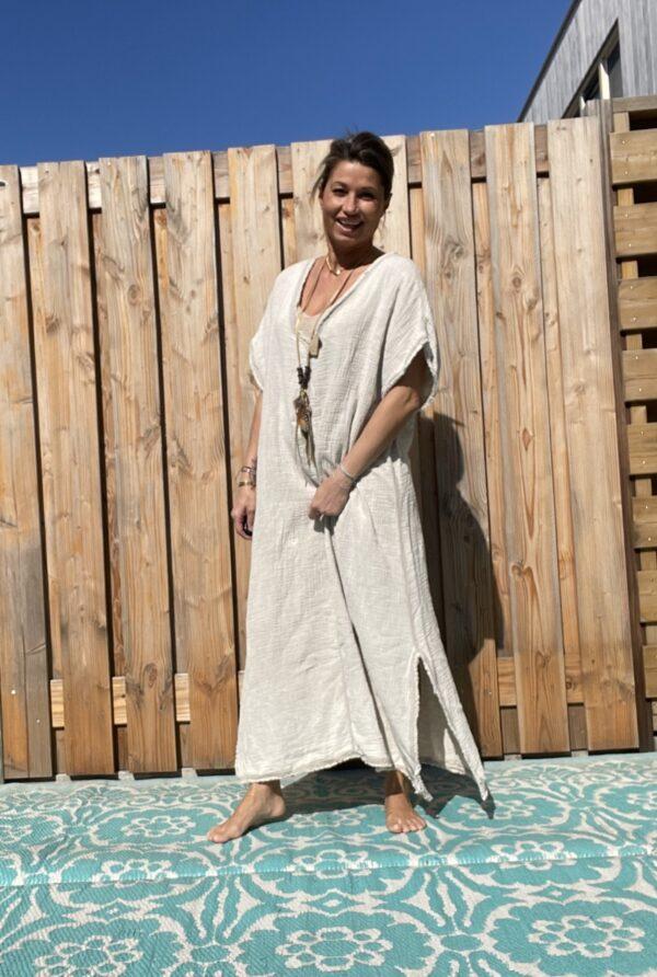 Daniela katoenen jurk-one size - Licht crème kleur.