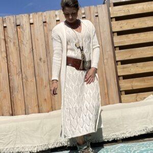 Estela katoen Gebreid vest- een maat - Off white kleur.