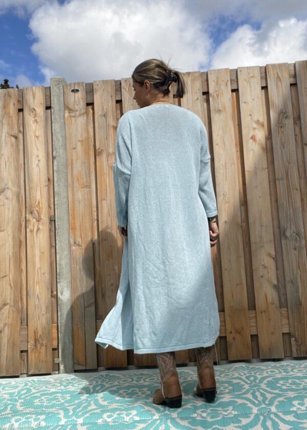 Gebreide katoenen Maxi vest Spijker blauw kleur – one size.