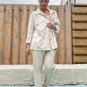 Zoë katoenen broek - Ivory kleur.