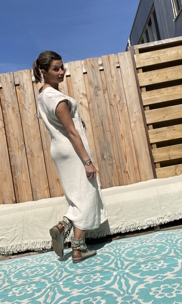 Soria katoen gebreid jurk - een maat- off white kleur.