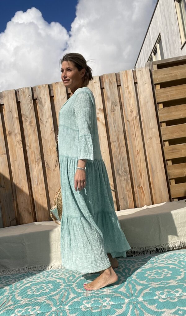 Adelina Maxi jurk - Petrol kleur - one size.