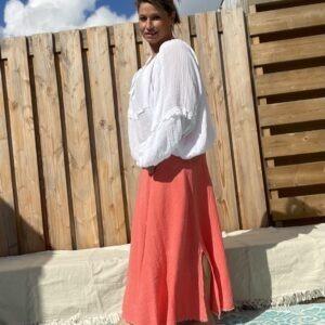 Celeste Katoen Blouse- one szie Coral kleur.