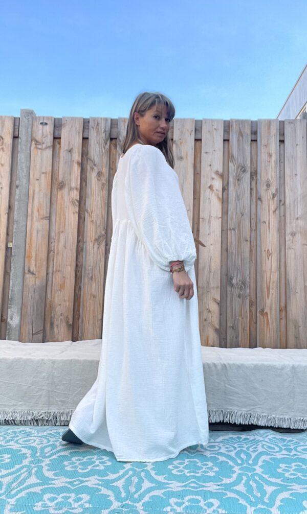 Esmee Maxi Jurk -One size – Off White kleur.