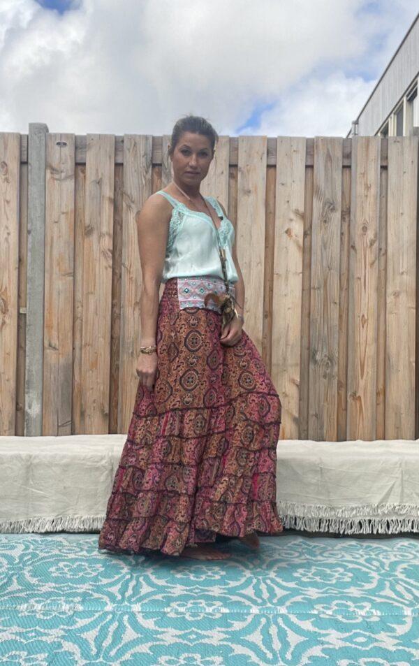 Gipsy boho Rose kleur rok van JOT.-met sierband -one size.