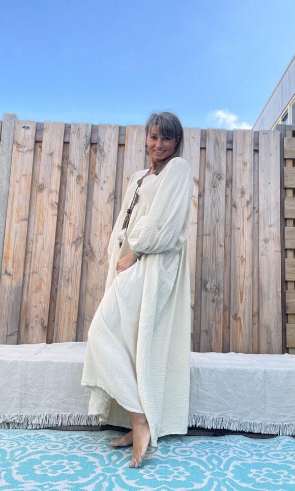 Esmee Maxi Jurk -One size – Ivory kleur.