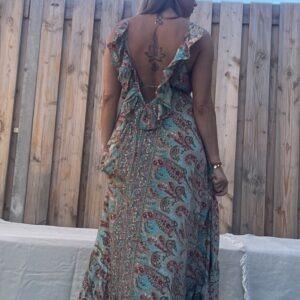 Destina Maxi jurk van Jot – one size- blauw kleur.